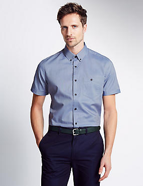 Pure Cotton Oxford Short Sleeve Shirt