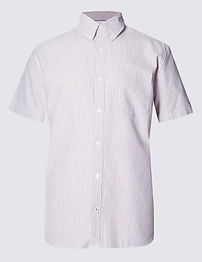 Pure Cotton Tailored Fit Short Sleeve Oxford Striped Shirt