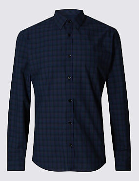 Slim Fit Pure Cotton Checked Shirt