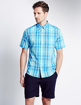 Pure Cotton Short Sleeve Large Checked Shirt