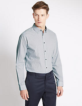 Slim Fit Pure Cotton Long Sleeve Shirt