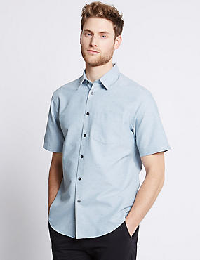 Cotton Rich Oxford Shirt with Pocket