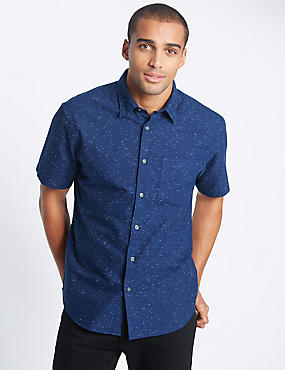 Short Sleeve Textured Oxford Shirt