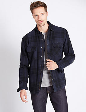 Pure Cotton Borg Lined Shirt Jacket