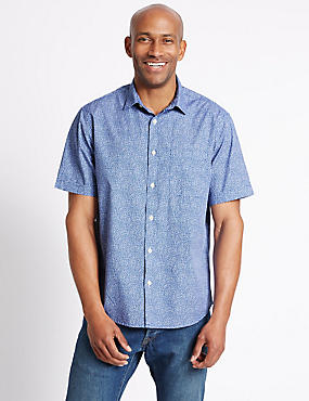 Pure Cotton Spotted Shirt with Pocket