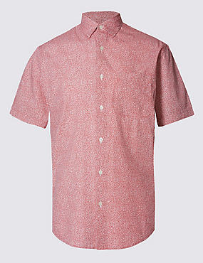 Pure Cotton Spotted Print Shirt with Pocket