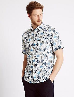 Pure Cotton Palm Tree Print Shirt