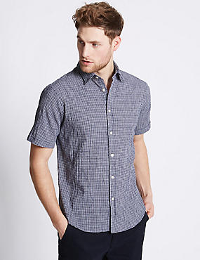 Cotton Rich Checked Shirt with Pocket