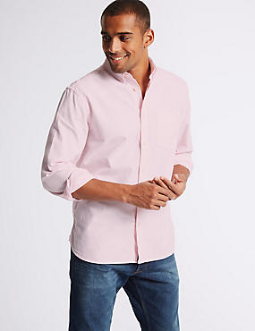 2in Longer Pure Cotton Oxford Shirt, BRIGHT PINK, catlanding