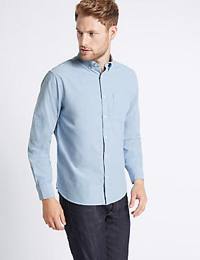 2in Longer Pure Cotton Oxford Shirt, BLUE, catlanding