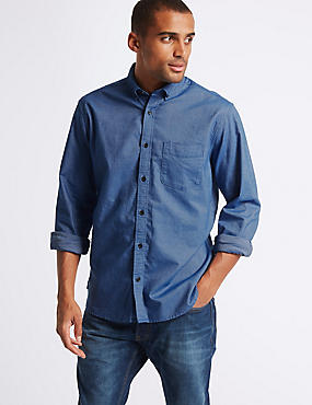 2in Longer Pure Cotton Oxford Shirt, BRIGHT BLUE, catlanding