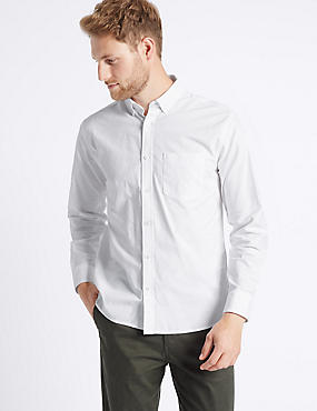 2in Longer Pure Cotton Oxford Shirt, WHITE MIX, catlanding