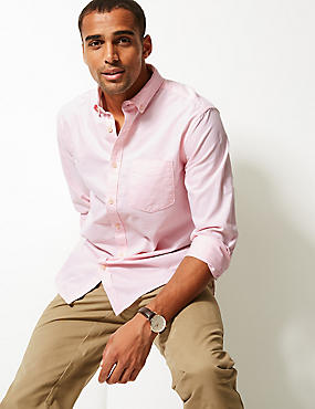 Pure Cotton Oxford Shirt with Pocket, BRIGHT PINK, catlanding