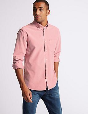Pure Cotton Plain Oxford Shirt , RED, catlanding