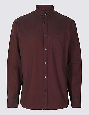Pure Cotton Oxford Shirt with Pocket, AUBERGINE, catlanding