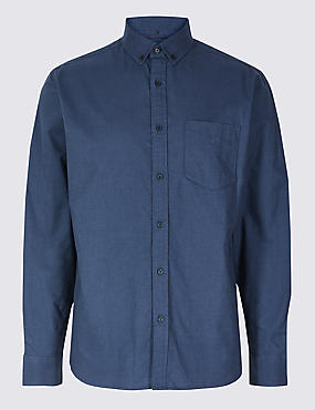 Pure Cotton Oxford Shirt with Pocket, MIDNIGHT, catlanding