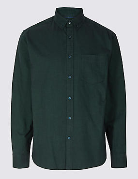 Pure Cotton Oxford Shirt with Pocket, EVERGREEN, catlanding