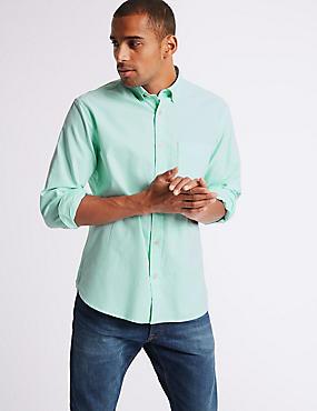 Pure Cotton Plain Oxford Shirt , MINT, catlanding