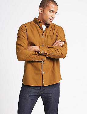 Pure Cotton Oxford Shirt with Pocket, MUSTARD, catlanding