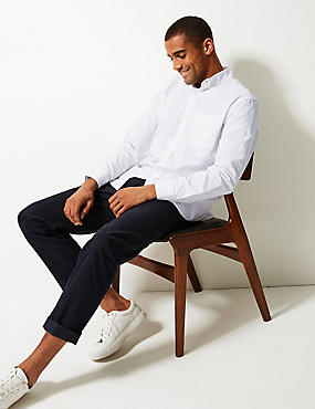 Pure Cotton Oxford Shirt with Pocket, WHITE MIX, catlanding