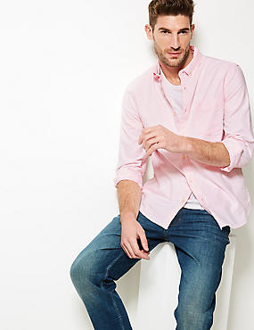 Pure Cotton Slim Fit Oxford Shirt with Pocket, BRIGHT PINK, catlanding