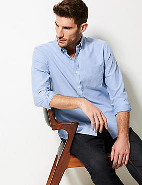 Pure Cotton Slim Fit Oxford Shirt with Pocket, BLUE, catlanding