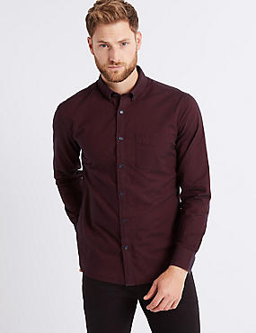 Pure Cotton Slim Fit Oxford Shirt with Pocket, AUBERGINE, catlanding