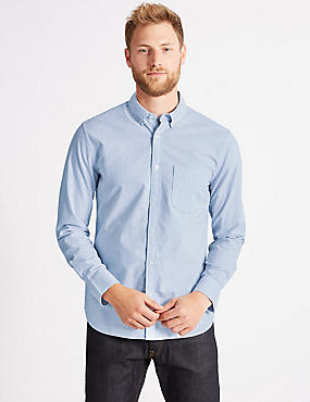 Pure Cotton Striped Oxford Shirt, BLUE, catlanding