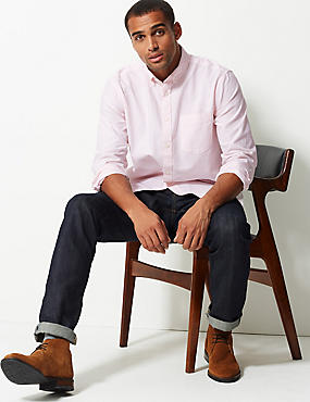 Pure Cotton Striped Oxford Shirt, PINK MIX, catlanding