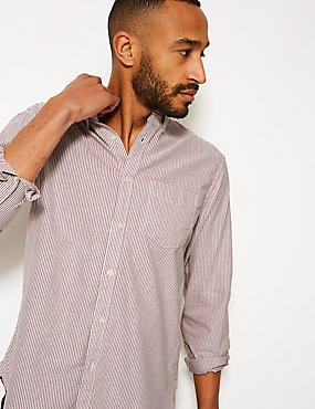 Pure Cotton Striped Oxford Shirt, BURGUNDY MIX, catlanding
