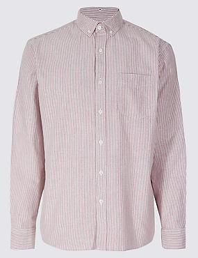 Pure Cotton Striped Oxford Shirt , BURGUNDY MIX, catlanding