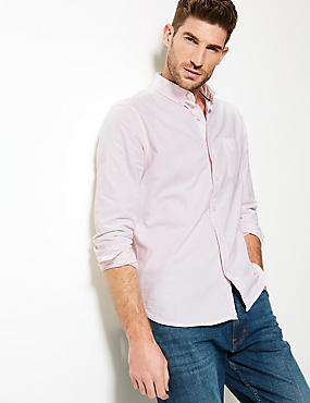 Pure Cotton Slim Fit Shirt with Pocket, PINK MIX, catlanding