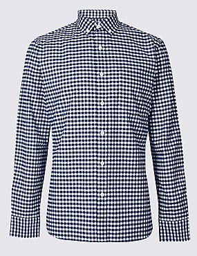 Pure Cotton Checked Oxford Shirt, NAVY, catlanding