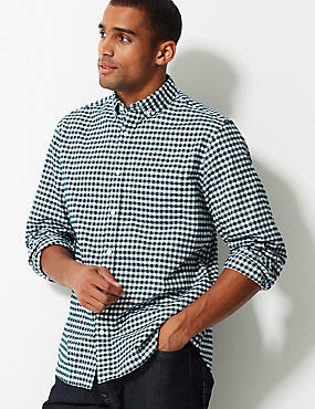 Pure Cotton Checked Oxford Shirt, EVERGREEN, catlanding