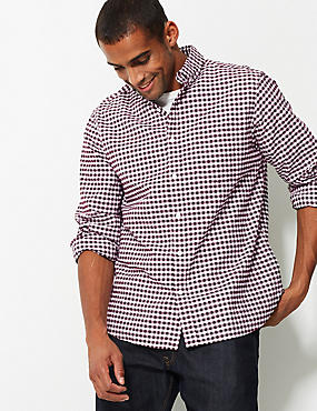 Pure Cotton Checked Oxford Shirt, BURGUNDY, catlanding