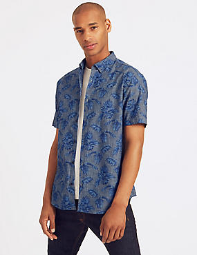 Pure Cotton Slim Fit Palm Print Shirt