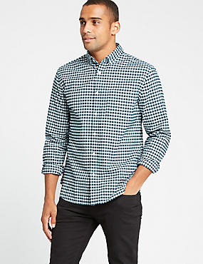 Pure Cotton Slim Fit Checked Oxford Shirt, EVERGREEN, catlanding