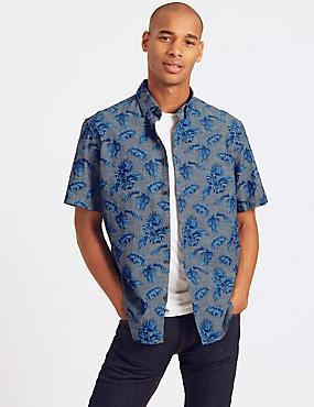 Pure Cotton Printed Shirt, CHAMBRAY, catlanding