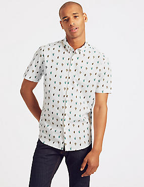 Pure Cotton Slim Fit Cactus Print Shirt