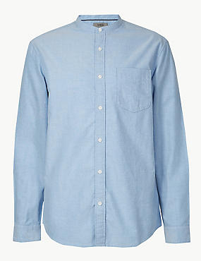 Pure Cotton Shirt with Pocket, BLUE, catlanding
