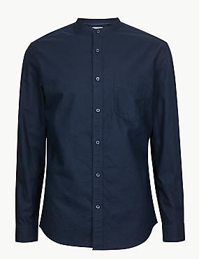 Pure Cotton Shirt with Pocket, NAVY, catlanding