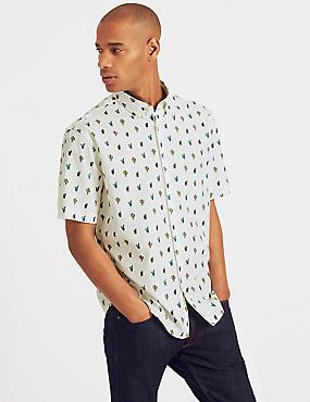 Pure Cotton Printed Shirt, WHITE MIX, catlanding