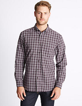 Pure Cotton Checked Oxford Shirt