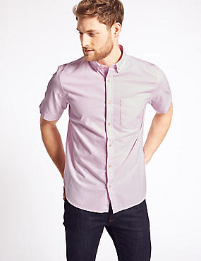 Pure Cotton Oxford Shirt with Pocket, PINK, catlanding