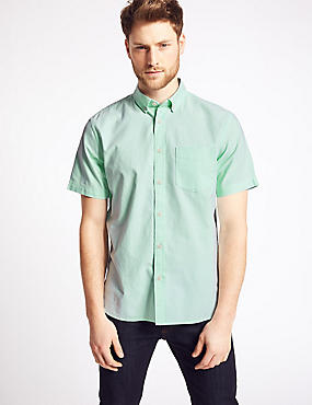Pure Cotton Oxford Shirt with Pocket, MINT, catlanding