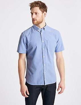 Pure Cotton Slim Fit Shirt, BLUE, catlanding