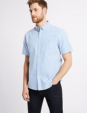 Easy to Iron Pure Cotton Shirt with Pocket, BLUE, catlanding