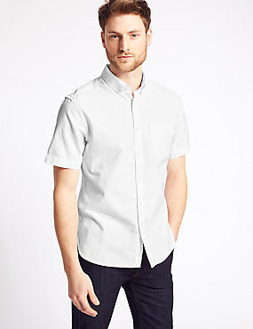 Easy to Iron Pure Cotton Shirt with Pocket, WHITE, catlanding