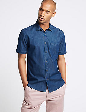 Pure Cotton Slim Fit Shirt with Pocket, INDIGO, catlanding