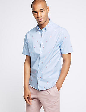 Pure Cotton Slim Fit Surfer Design Shirt, LIGHT BLUE, catlanding